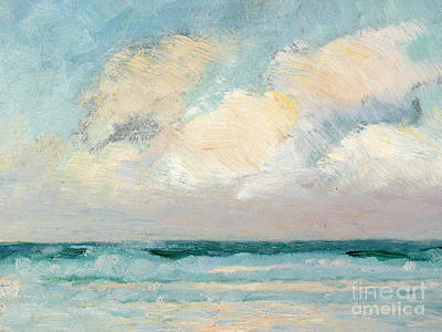 Beach Oil Painting - Sea Study - Morning by AS Stokes