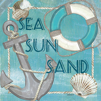Map Painting - Sea Sun Sand by Debbie DeWitt