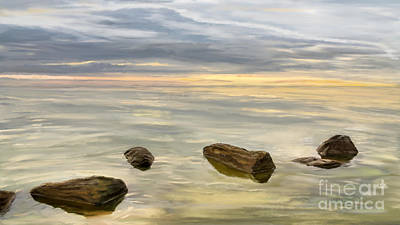 Digital Art - Sea Sunset During Calm Weather by Jan Brons
