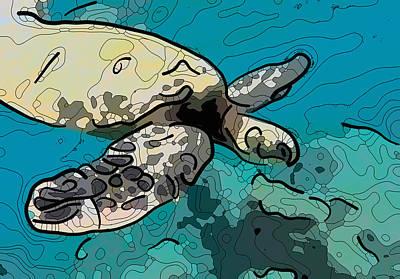 Painting - Sea Turtle 1 by Jeelan Clark