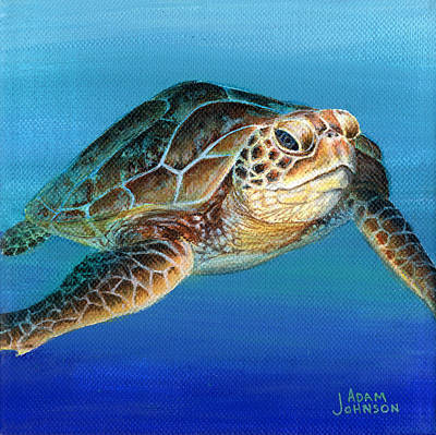 Painting - Sea Turtle 1 Of 3 by Adam Johnson