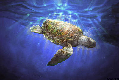 Classic Marine Art Painting - Sea Turtle 1992 by Mike Winterbauer