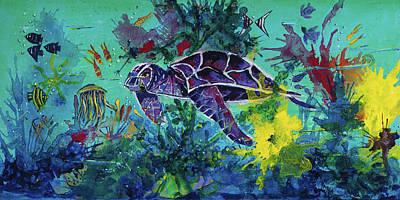 Sea Turtles Painting - Sea Turtle 2 Heading Home by Mary DuCharme