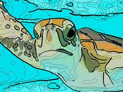 Painting - Sea Turtle 2 by Jeelan Clark