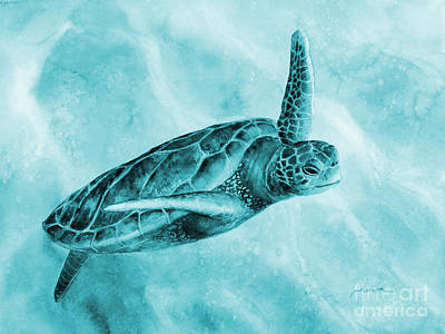 Abstract Works - Sea Turtle 2 on Blue by Hailey E Herrera