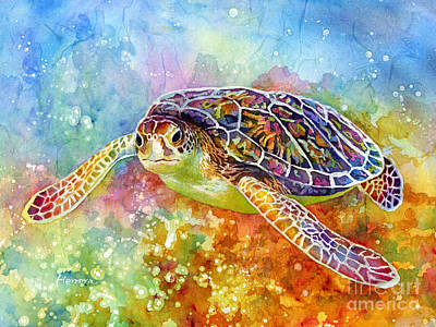 In Flight Painting - Sea Turtle 3 by Hailey E Herrera