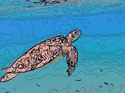 Painting - Sea Turtle 3 by Jeelan Clark
