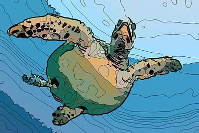 Painting - Sea Turtle 4 by Jeelan Clark