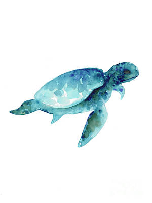 Turtle Wall Art - Painting - Sea Turtle Abstract Painting by Joanna Szmerdt