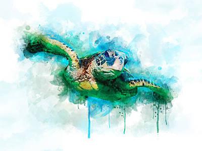 Reptiles Digital Art - Sea Turtle  by Aged Pixel