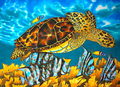 Painting - Sea Turtle And Atlantic Spadefish by Daniel Jean-Baptiste