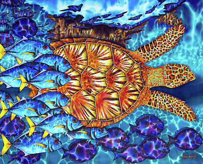 Sea Turtle And Fish Art Print by Daniel Jean-Baptiste