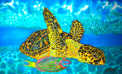 Painting - Sea Turtle And Parrotfish by Daniel Jean-Baptiste