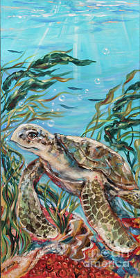 Painting - Sea Turtle And Red Coral by Linda Olsen