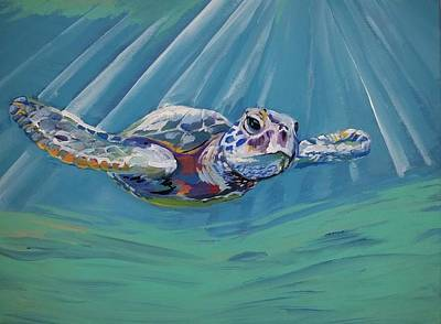 Sun Rays Painting - Sea Turtle  by Anne Seay
