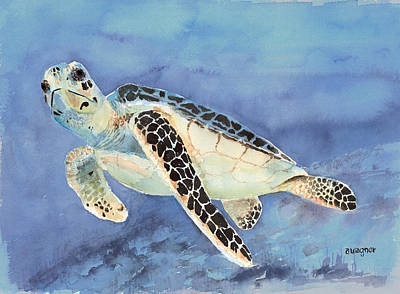 Green Sea Turtle Painting - Sea Turtle by Arline Wagner