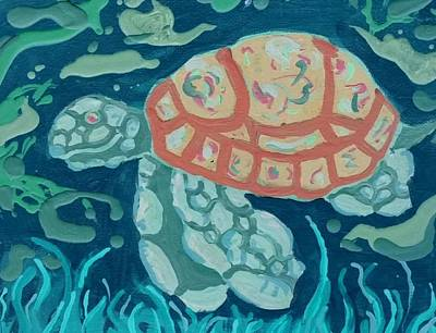 Painting - Sea Turtle At Twilight  by Yshua The Painter