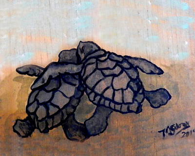 Green Sea Turtle Painting - Sea Turtle Babies by W Gilroy