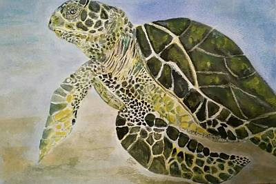 Sea Turlte Painting - Sea Turtle by Brenda Sauve