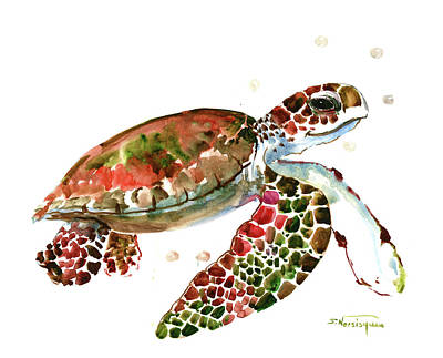 Painting - Sea Turtle, Brown, Olive Green, Pink Red Shades by Suren Nersisyan