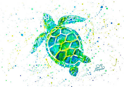 Painting - Sea Turtle By Jan Marvin by Jan Marvin