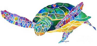 Reptiles Painting - Sea Turtle Celebration 4 Prints Only by Jo Lynch