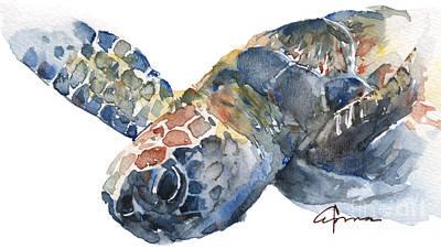 Sea Turtles Painting - Sea Turtle - Large Size by Claudia Hafner