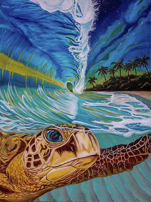 Sea Turtle Painting - Sea Turtle Crashing Wave Hawaiian Sunset Painting - With The Stars On Her Back by Christopher Smart