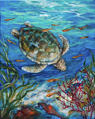 Painting - Sea Turtle Dive by Linda Olsen