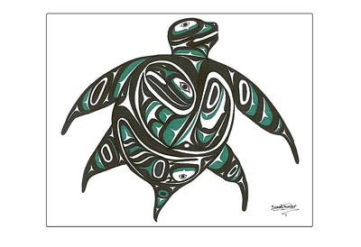 Sea Turtle Drawing - Sea Turtle Green by Speakthunder Berry