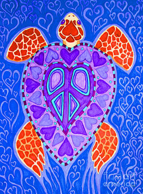Reptiles Drawings - Sea Turtle Hearts 2 by Nick Gustafson