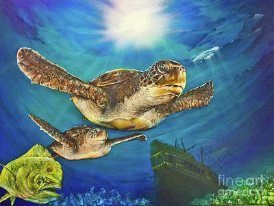 Painting - Sea Turtle IIi by Pete Sintes