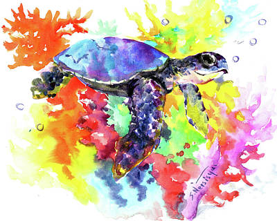 Painting - Sea Turtle In Coral Reef by Suren Nersisyan