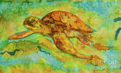 Tapestry - Textile - Sea Turtle by Jacqueline Phillips-Weatherly