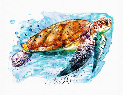 Sea Turtles Mixed Media - Sea Turtle  by Marian Voicu