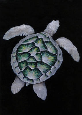 Black Painting - Sea Turtle Right by Michelle Iglesias