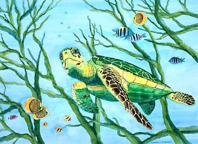 Painting - Sea Turtle Series #3 by Laurie Anderson