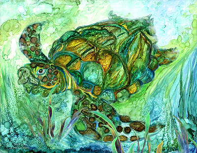 Ocean Turtle Mixed Media - Sea Turtle - Spirit Of Peace by Carol Cavalaris