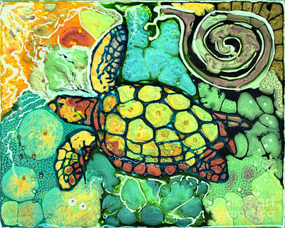 Sea Turtle Swiming Original by Shelly Tschupp