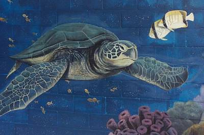 Painting - Sea Turtle Swimming by Suzn Art Memorial