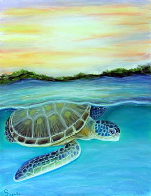 Wall Art - Painting - Sea Turtle Takes A Dive by Carol Iyer