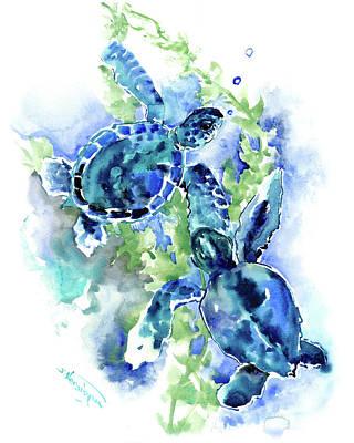 Painting - Sea Turtle, Underwater Scene, Blue Turquoise Illustration Beach Bath by Suren Nersisyan