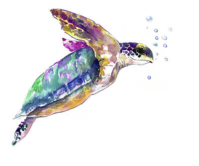 Painting - Sea Turtle Underwater Scene by Suren Nersisyan