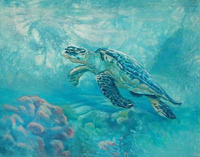 Sea Turtle Art Print by Vicky Russell
