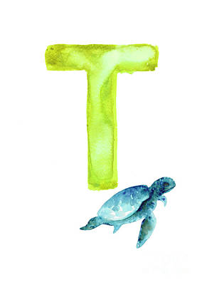 Painting - Sea Turtle Watercolor Alphabet Poster by Joanna Szmerdt
