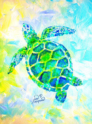 Painting - Sea Turtle With Background By Jan Marvin by Jan Marvin
