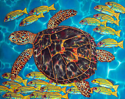 Sea Turtle With Schooling Fish Art Print by Daniel Jean-Baptiste