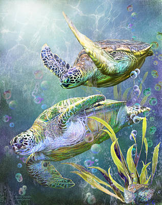 Ocean Turtle Mixed Media - Sea Turtles - Ancient Travelers by Carol Cavalaris