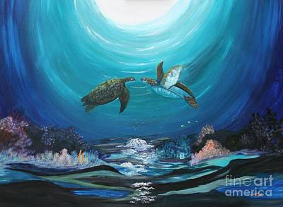 Sea Turtles Greeting Art Print by Myrna Walsh