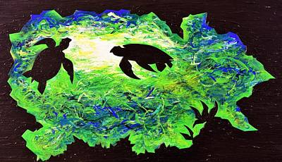 Pyrography Painting - Sea Turtles by Iron Patriot Woodburning